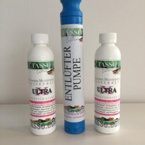 Tasso Ultra X Konditionierer 2 x 240 ml (70.83€ / l) und 1 x Tasso Entlüfterpumpe-0